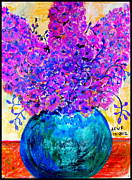 Pottery Pastels - Delphiniums in Blue Vase by Amanda Fitzgerald