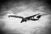 Passenger Plane Framed Prints - Delta Air Lines Airplane in Black and White Framed Print by Paul Velgos