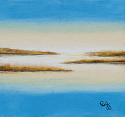 Mississippi River Painting Originals - Delta Autumn Reeds by Paul Gaj