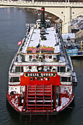 Tn River Prints - Delta Queen in Christmas Snow Print by Tom and Pat Cory