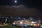 Hall Of Fame Prints - Delta Queen Under a Full Moon Print by Kathy  White