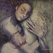 Mask Painting Framed Prints - Delusion Framed Print by Dorina  Costras