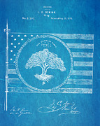 Deming Century Flag Patent Art 1875 Blueprint Print by Ian Monk