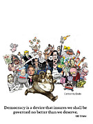 Democracy Drawings Posters - Democracy Defined Poster by Bado
