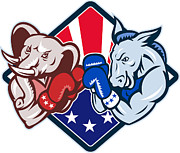 Democratic Party Prints - Democrat Donkey Republican Elephant Mascot Boxing Print by Aloysius Patrimonio