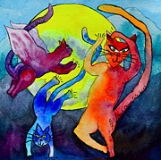 Beverley Harper Tinsley Painting Prints - Demon Cats Dance by the Light of the Moon Print by Beverley Harper Tinsley