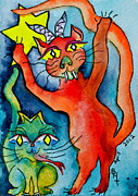 Green Monster Prints - Demon Cats Reach Print by Beverley Harper Tinsley