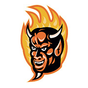 Fiery Digital Art Posters - Demon Devil Horns Fire Retro Poster by Aloysius Patrimonio