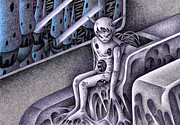 Science Fiction Drawings - Demon to travel by T Koni