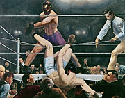 Oil Paint Posters - Dempsey v Firpo in New York City Poster by George Wesley Bellows