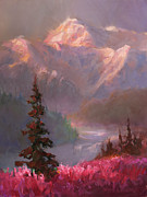 Alaskan Paintings - Denali Summer - Mt McKinley Alaska by Karen Whitworth
