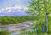 Watercolours Framed Prints - Denali Viewpoint Framed Print by Sharon Freeman