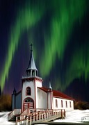 Northern Lights Mixed Media Posters - Dene Reserve Church Poster by Barbara Hart