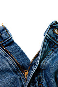 Casual Blue Jeans Prints - Denim Blue Jeans Unzipped Isolated Print by Danny Hooks