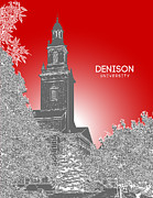 Fraternity Digital Art Prints - Denison University Swasey Hall Print by Myke Huynh