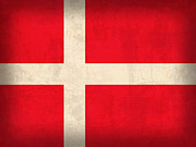 Copenhagen Denmark Prints - Denmark Flag Vintage Distressed Finish Print by Design Turnpike