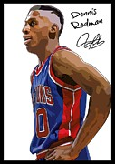 Signed Poster Art - Dennis Rodman Signature Poster by Sanely Great