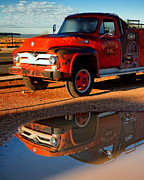 Puddle Posters - Dennis Volunteer Fire Engine Seligman AZ Poster by Troy Montemayor