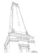 University Of Alabama Drawings Prints - Denny Chimes Study Print by Calvin Durham