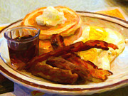 Grandslam Breakfast Prints - Dennys Grand Slam Breakfast - Painterly Print by Wingsdomain Art and Photography