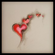 Passion Drawings Posters - Dented Heart Poster by Marat Essex