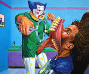 Cage Paintings - Dentist Clown by Mike Fahl