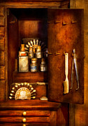 Tools Prints - Dentist - The Dental Cabinet Print by Mike Savad