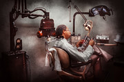 Steam-punk Posters - Dentist - Waiting for the Dentist Poster by Mike Savad