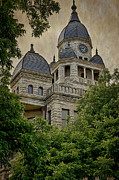 Domes Prints - Denton County Courthouse Print by Joan Carroll
