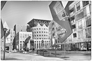 Downtown Mixed Media Framed Prints - Denver Art Museum Courtyard BW Framed Print by Angelina Vick