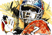 Denver Broncos Drawings Prints - Denver Broncos - Elway Print by Jerrett Dornbusch