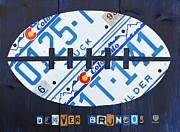 Football Mixed Media Framed Prints - Denver Broncos Football License Plate Art Framed Print by Design Turnpike