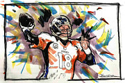 Denver Broncos Drawings Prints - Denver Broncos - Manning Print by Jerrett Dornbusch