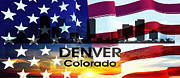 Colorado State Flag Prints - Denver CO Patriotic Large Cityscape Print by Angelina Vick