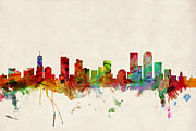 Watercolour Prints - Denver Colorado Skyline Print by Michael Tompsett
