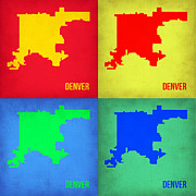 Denver Posters - Denver Pop Art Map 1 Poster by Irina  March