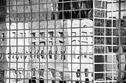 Denver Framed Prints - Denver Skyscraper Reflections 1 BW Framed Print by Angelina Vick