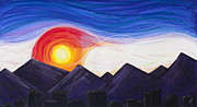 Flag Pastels Prints - Denver Sunset Print by Dana Strotheide