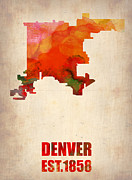 Denver Posters - Denver Watercolor Map Poster by Irina  March
