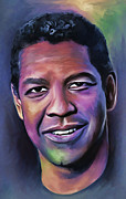 Film Director Framed Prints - Denzel Washington Framed Print by Andrzej  Szczerski
