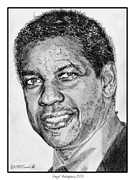 Closeup Drawings Prints - Denzel Washington in 2009 Print by J McCombie