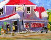 Store Fronts Paintings - Depaneur chez Madeleine by Michael Litvack