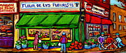 Hockey Art Paintings - Depanneur Coca Cola Marche Fleuriste Maison De Pain Montreal Street Hockey Scenes Quebec Art  by Carole Spandau