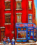 Restaurant Signs Paintings - Depanneur Epicerie Kik Cola Verdun Restaurant Deli - Tabagie Verdun Montreal Winter Hockey Art Scene by Carole Spandau