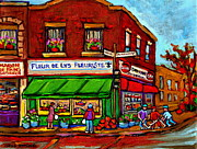 City Streets Drawings Prints - Depanneur Maison De Pain Patisserie Fleuriste Fruits Montreal Paintings Street Hockey City Scenes Print by Carole Spandau