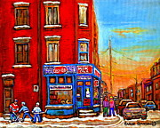 Hot Dog Joints Prints - Depanneur Marche Fruits Verdun Restaurant Smoked Meat Deli  Montreal Winter Scene Paintings  Hockey  Print by Carole Spandau