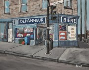 Corner Stores Paintings - Depanneur Safa Wellington Street  by Reb Frost