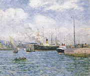 Handling Framed Prints - Departure from Havre Framed Print by Maxime Emile Louis Maufra