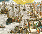 Sailing Ships Prints - Departure from Lisbon for Brazil Print by Theodore de Bry