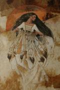 Feathers Pastels Prints - Departure Of White Buffalo Woman Print by Pamela Mccabe
